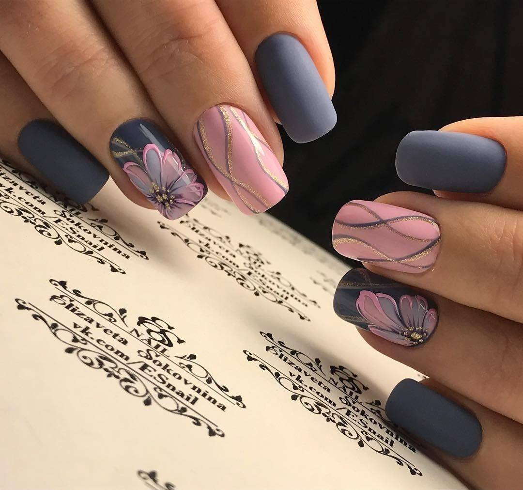 Маникюр с цветочным дизайном 2021. Более 200 фото новинок модного и красивого маникюра