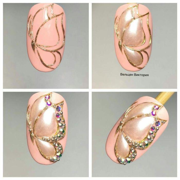 Маникюр с полосками из фольги на короткие и длинные ногти. Фотоподборка идей 2021